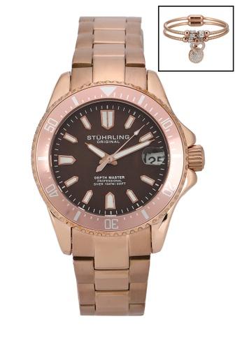 Stuhrling Original 黑色 and 粉紅色 and 金色 Depthmaster 3950AL Quartz Watch Set C1D39ACC8DBEAEGS_1