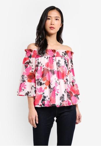 Dorothy Perkins pink Petites Cny: Floral Shirred Bardot DO816AA0SKT5MY_1