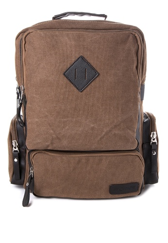 Chase Fashion brown Diamond Patch Backpack CH547AC38ELXPH_1