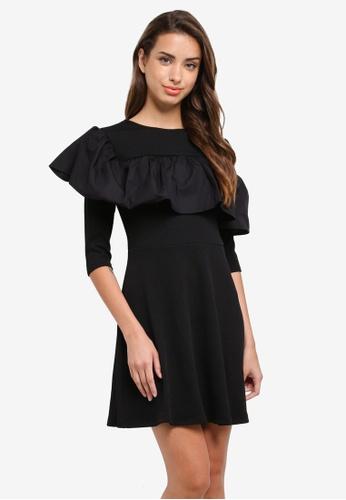 River Island black Ss Knightley Poplin Frill Teture Dress E5678AA0E6A908GS_1