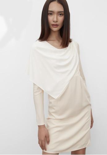 Pomelo beige Sustainable Draped Effect Dress - Cream 2A05AAA0E06161GS_1