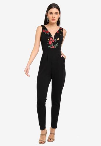 WALG black Plunge Floral Jumpsuit 79840AA540DAD8GS_1