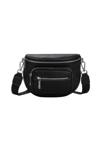 Lara black Women's Water-repellent Wear-resistant Soft Cowhide Zipper Cross-body Bag Shoulder Bag - Black 59160ACEB3DFB4GS_1