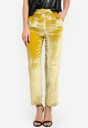 Mango yellow Velvet Palazzo Trousers MA193AA0SD0ZMY_1