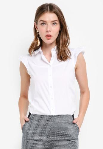 OVS white Sleeveless Frill Shirt A179EAA5E767E8GS_1