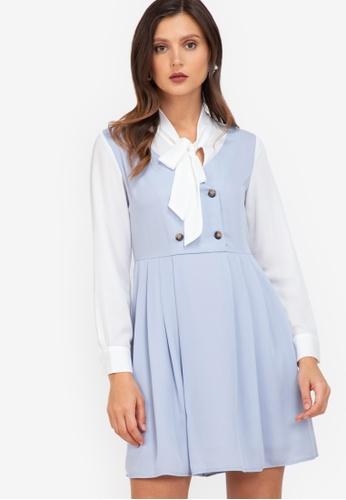 ZALORA WORK blue Pleated Pinafore Dress A4033AA758A5F6GS_1