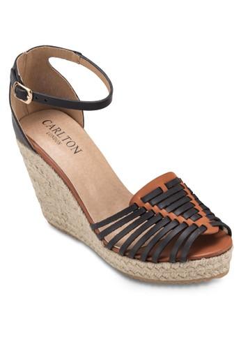 魚口踝帶麻編楔形涼鞋,zalora 手錶 女鞋, 鞋