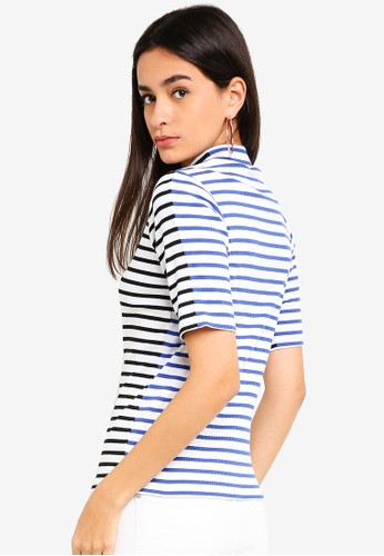 ESPRIT black Stripe Ribbed T-Shirt EA0F2AAA03A3E7GS_1