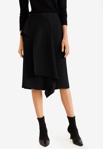 Mango black Midi Ruffled Skirt 7AB35AA3D842BCGS_1