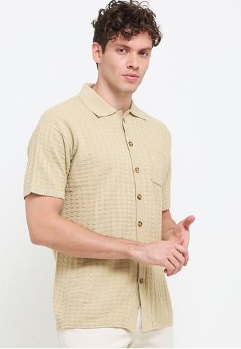 Noir Sur Blanc beige Men Shirt Knit with button D9B41AA7500D7BGS_1