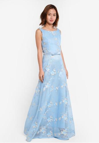 Megane blue Eleta Embroidery Netting Dress ME617AA0SZWIMY_1