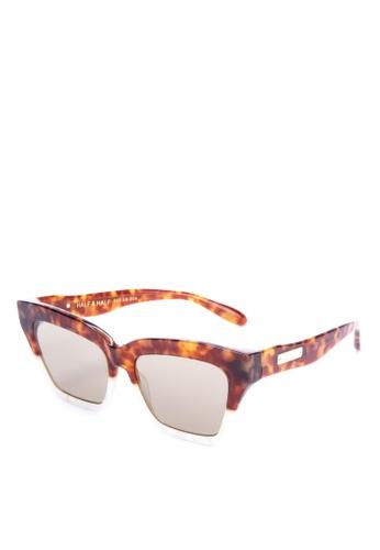 Sonix brown and multi Half & Half Sunglasses BB89AGL1CED16DGS_1