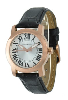 Emile Watch, Steel Plated On Leather Strap,14wr-Eml005-Ls