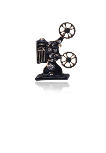 Glamorousky white Fashion Vintage Plated Gold Black Radio Brooch with Cubic Zirconia 4CF95ACEAED5F5GS_1