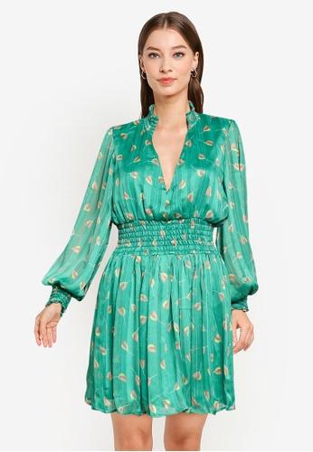 Goddiva green V-Neck Shirred Waist Tea Dress E1606AA9017993GS_1