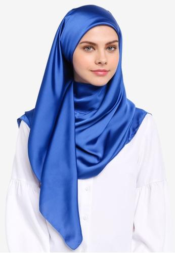 Najjah blue Satin Silk Square Hijab NA225AA0SR6CMY_1