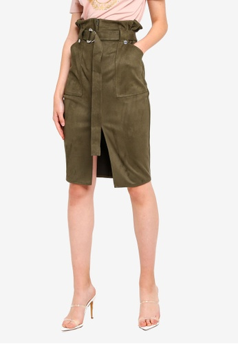 ba191146f Buy River Island Faux Suede Paperbag Pencil Skirt Online on ZALORA Singapore