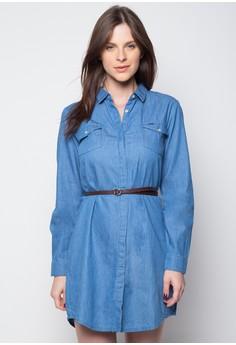 Buttondown Chambray Long Sleeve Dress