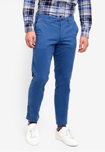 United Colors of Benetton 藍色 基本款彈力斜纹長褲 772C5AA6592E38GS_1