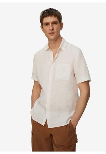 MANGO Man white 100% Linen Short Sleeve Shirt F8727AAEA90C1BGS_1