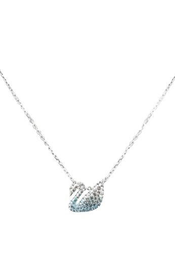 SWAROVSKI multi and silver Iconic Swan Small Pendant Necklace EF88BAC3D83E92GS_1