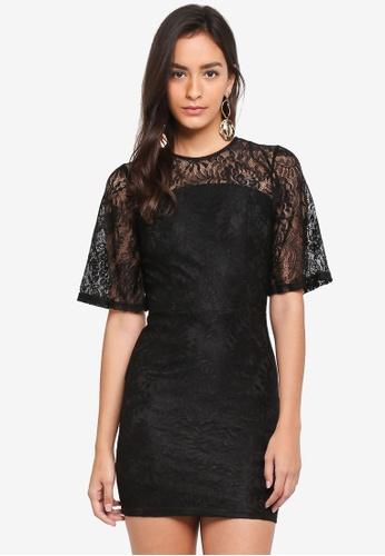 INDIKAH black Lace Overlay Dress 4AC50AA1AA3A34GS_1