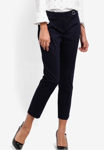 Dorothy Perkins navy Navy Crop Cotton Sateen Trousers DO816AA85UJQMY_1