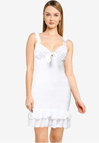 Cotton On white Woven Mia Tie Front Shirred Mini Dress 4C398AA3EE07FFGS_1