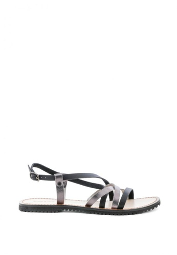 Rag & CO. black and grey Strappy Flat Leather Sandals 25449SHEC59D4AGS_1