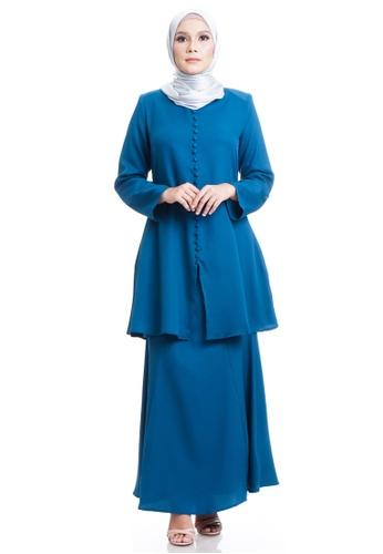 Ashura blue Salwa Kurung With Front Button 66FEFAAA273B30GS_1