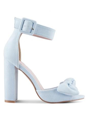 Velvet blue Bow Detail Ankle Strap Heels 8D215SHB306F27GS_1