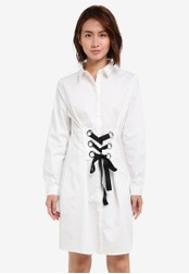 ZALORA white Laced Front Shirt Dress 86F14ZZDA3CBAAGS_1
