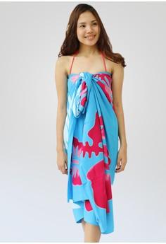 Image of Big Palm Azur Hand Painted Sarong