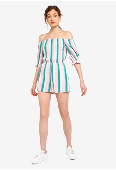 ddd95e25ef Miss Selfridge Petite Candy Stripe Bardot Playsuit RM 199.00. Available in  several sizes