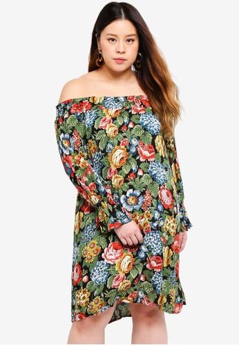 Only CARMAKOMA multi Plus Size Printed Long Sleeved Dress E8169AA8DA15AFGS_1