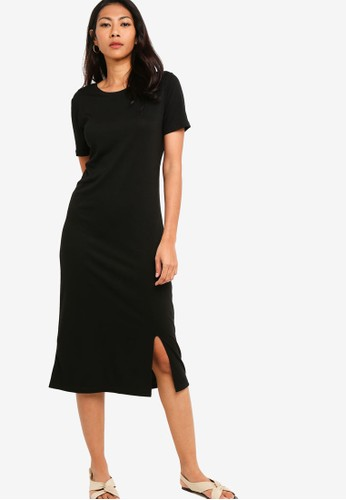 ZALORA BASICS black Basic Midi Dress With Slit BB762AA2C2D5BBGS_1