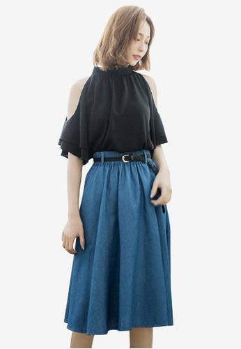 a7652d2c33acc Shop Sesura Denim Swirl Round Skirt Online on ZALORA Philippines