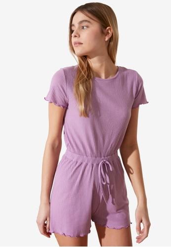 Trendyol purple Tie Waist Detail Lounge Playsuit 81167AAF5B85B5GS_1