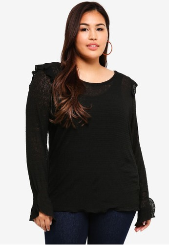 Junarose black Plus Size Knitted Top 505BCAA08AD5D4GS_1