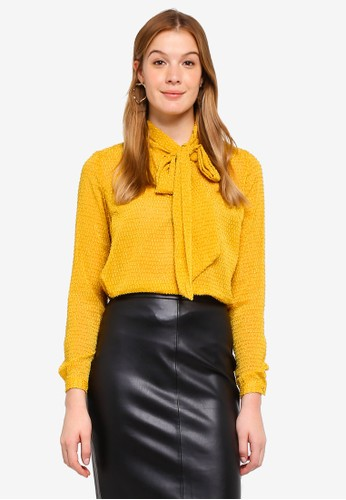 Y.A.S yellow Bowtie Blouse B1CA2AA24A17F7GS_1