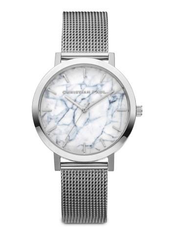 35esprit 高雄mm Hayman 大理石圓框網眼手錶, 錶類, 不銹鋼錶帶