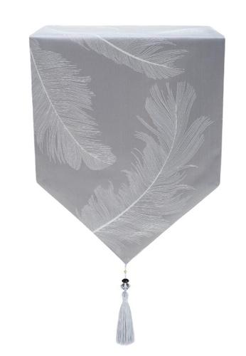 Maison Curio Sivria Feather Table Runner 210cm Ash. 08C6BHL4D48904GS_1
