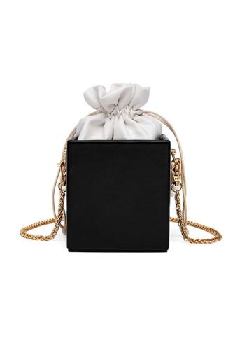 Lara black Women's Leather Cube Drawstring Bucket Bag - Black 255EEAC0FC78FDGS_1