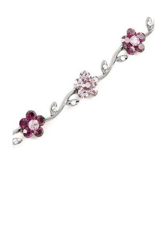 Glamorousky purple Purple Flower Black Alloy Bracelet with Purple Austrian Element Crystals 5B264AC82E06A7GS_1