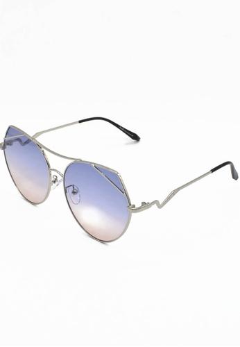 Dandelion silver Metal Cateye Sunglasses A0CFCGLD164848GS_1