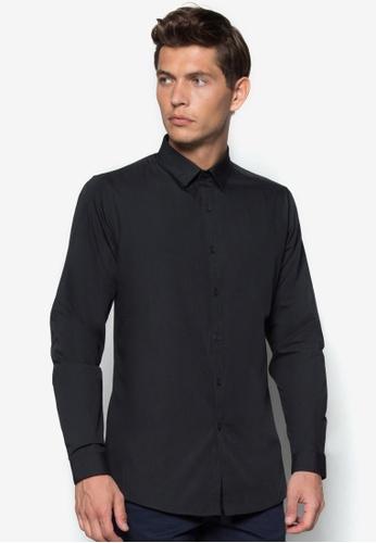 Topman black Black Long Sleeve Slim Smart Shirt TO413AA11BNSMY_1