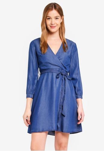 Banana Republic blue Faux Wrap Chambray Dress FD27EAA442EC77GS_1