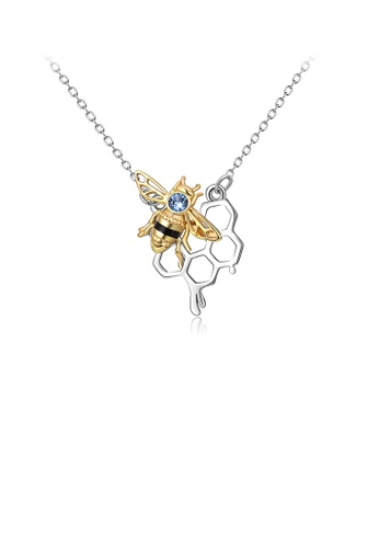 Glamorousky blue 925 Sterling Silver Fashion Temperament Golden Bee Honeycomb Pendant with Cubic Zirconia and Necklace C7F01ACECF7BCBGS_1