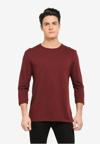 MANGO Man red Essential Cotton 3/4 Sleeve T-Shirt MA449AA0T1F3MY_1