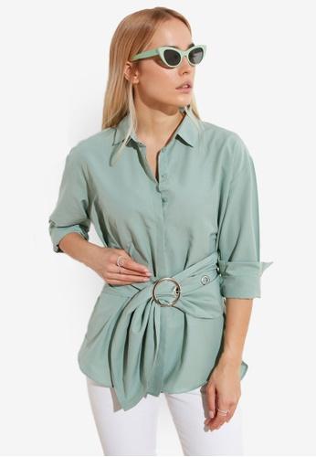 Trendyol green Belted Detail Shirt 27124AA65D4891GS_1